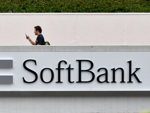 A logo is displayed at a SoftBank store