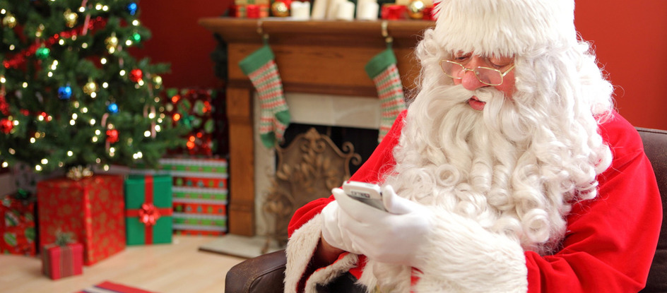 Santa with mobile (holiday traffic)